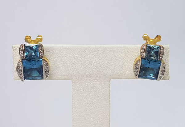 18ct Yellow Gold Blue Topaz and Diamond Earrings