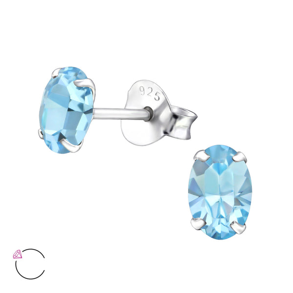 Aquamarine Crystal Claw Set Sterling Silver Studs