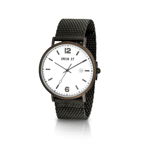Union St William White Dial with Blacktone Mesh Watch