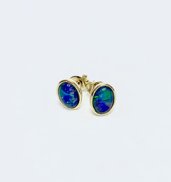 Oval Opal (T) Bezel Set Gold Plated Studs