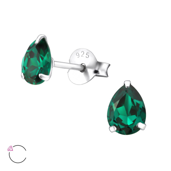 Emerald Colour Pear Sterling Silver Studs