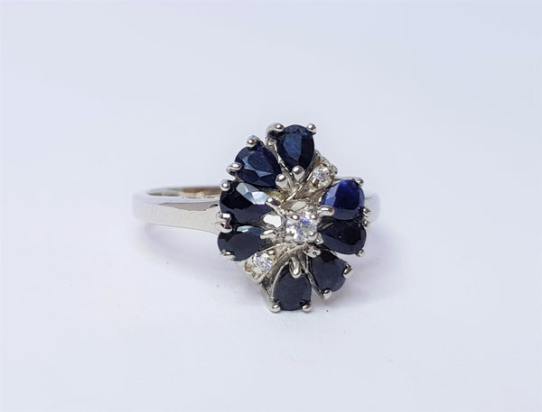 Sapphire and CZ Cluster Sterling Silver Ring