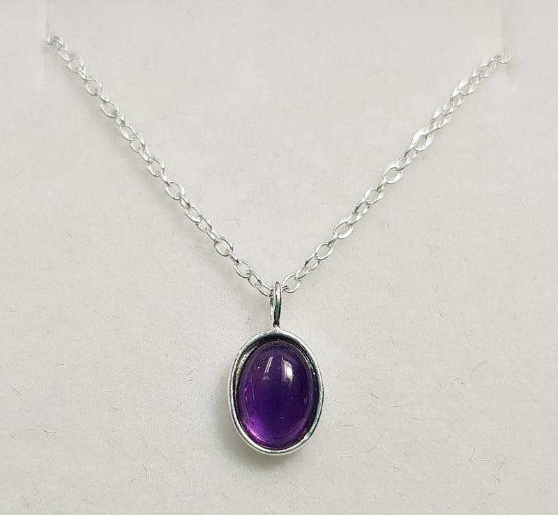 Oval Amethyst Sterling Silver Pendant and Sterling Silver Chain