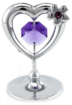 Crystal Mini Heart and Flower Silver