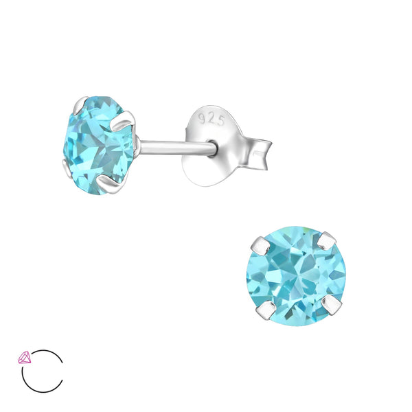 """Light Turquoise""  Crystal Sterling Silver Studs"
