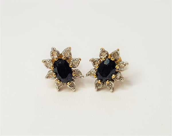9ct Yellow Gold Sapphire and Diamond Diana Studs