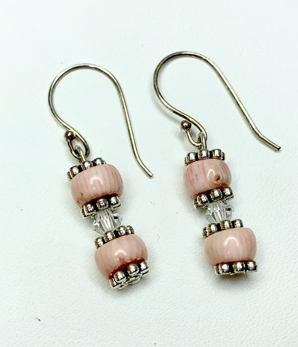 Rose Coral and Clear  Swarovski Crystal Sterling Silver Drops