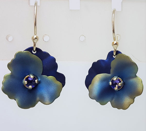 Pansy Blue Silver Earrings