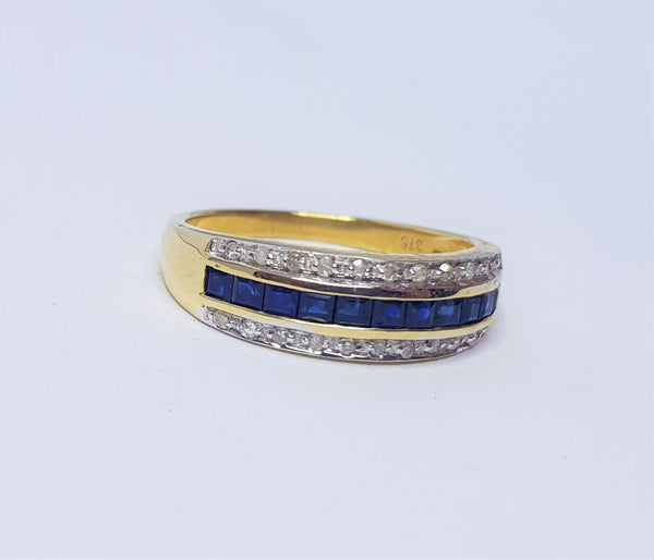 Sapphire & Diamond 9ct Yellow Gold Dress Ring
