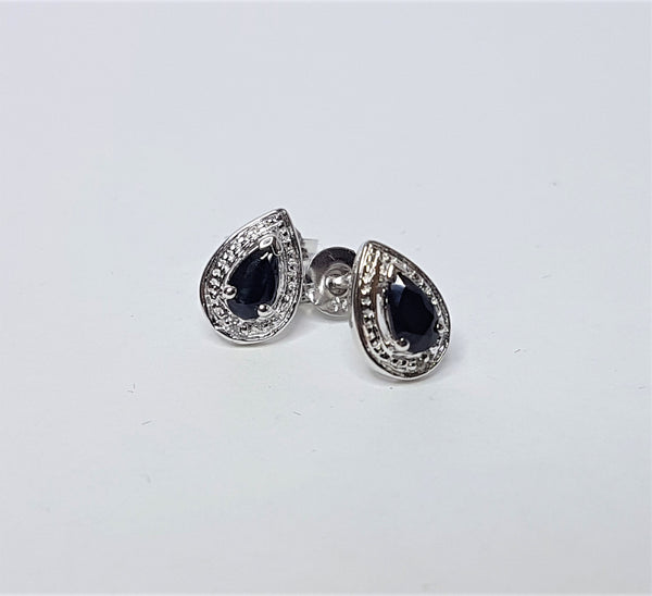 Teardrop Sapphire and CZ Sterling Silver Studs