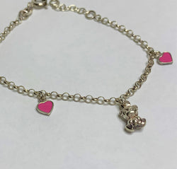 Pink Heart And Silver Bear Sterling Silver Bracelet