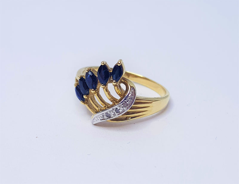 Marquise Sapphire & Diamond 9ct Yellow Gold Spray Ring
