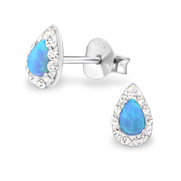 Azure Pear & Crystal Created Opal Sterling Silver Studs