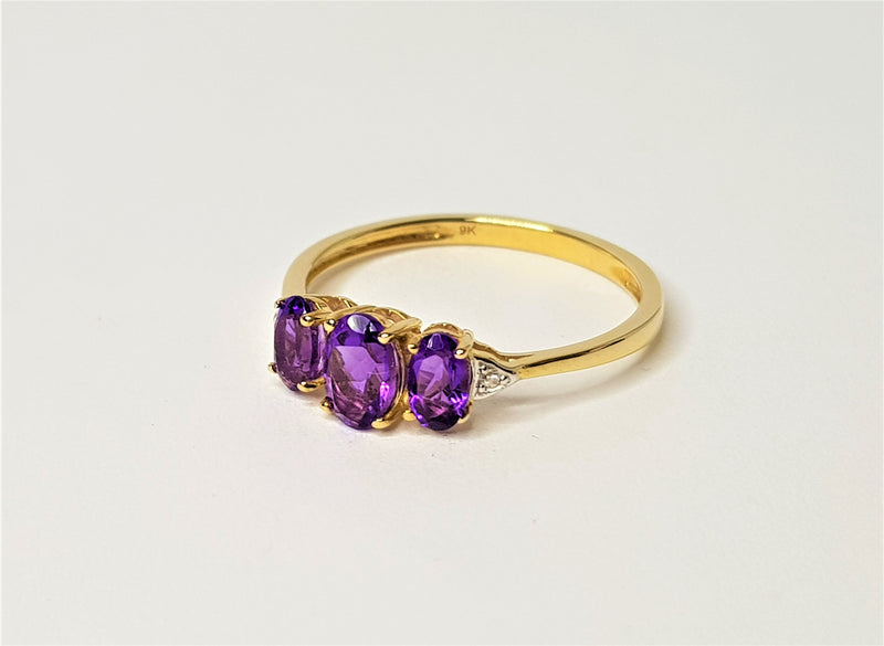 9ct Yellow Gold 3 x Oval Amethyst and Diamond Ring