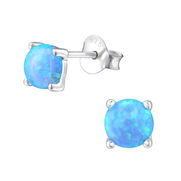 5mm Round Azure Sterling Silver Created Opal Studs