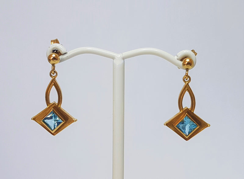 9ct Yellow Gold Princess Cut Blue Topaz Diamond Earrings