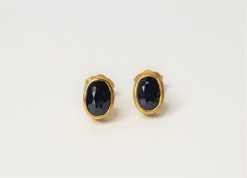 9ct Yellow Gold Oval Sapphire Bezel Studs