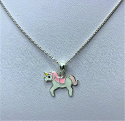 Pink and White Unicorn Childrens Sterling Silver Pendant