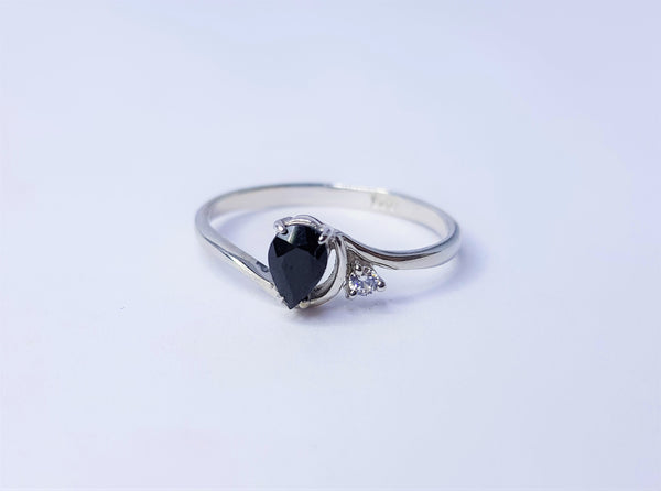 Teardrop Sapphire and CZ Sterling Silver Ring