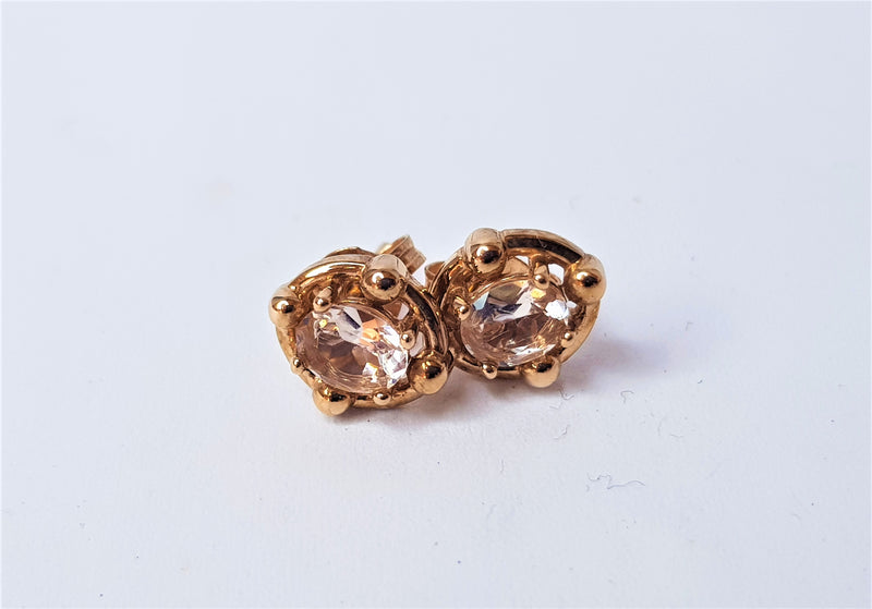 9ct Rose Gold Morganite Studs