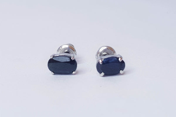 Oval Sapphire Claw Set Sterling Silver Studs