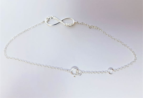 'You' and 'Me' Infinity Sterling Silver Bracelet