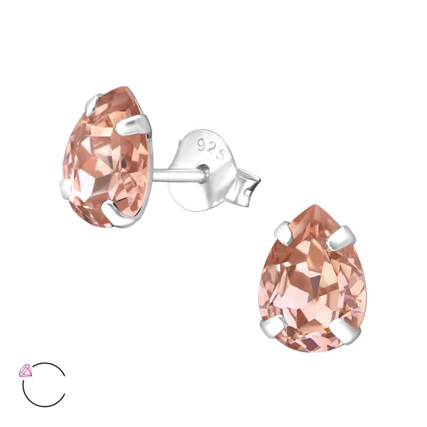 6mm Brilliant Cut Light Rose Crystal Sterling Silver Studs