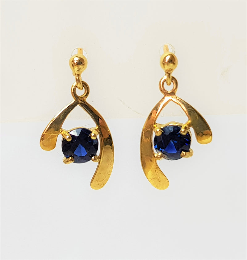 9ct Yellow Gold Sapphire Drop Studs