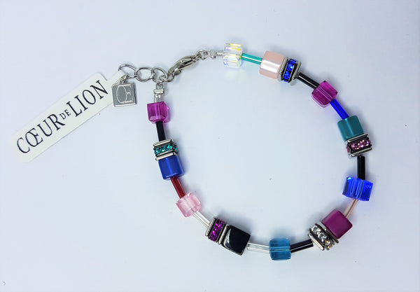 Blue Pink Geo Cube with polaris/rhinestone/glass & Swarovski Crystal Bracelet