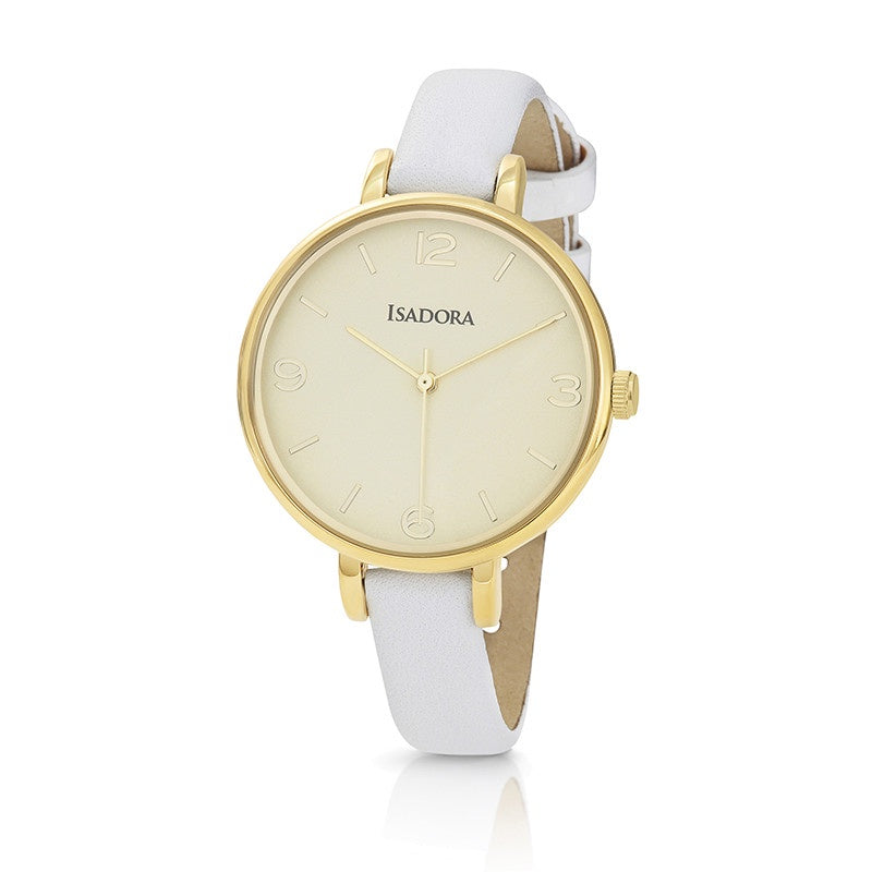 Coin by Isadora Gold Tone Case with White Fine Leather Strap Watch