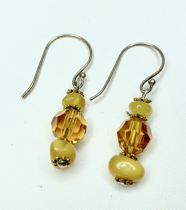 Swarovski  Crystal & Cream Amber Drop Earrings