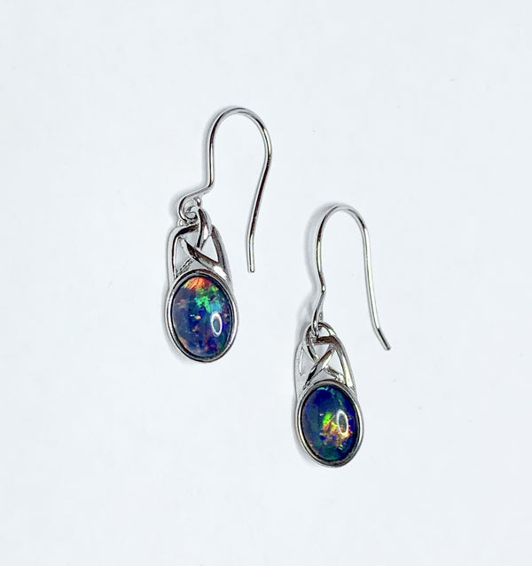 Opal Bezel Set Oval Sterling Silver Hoops