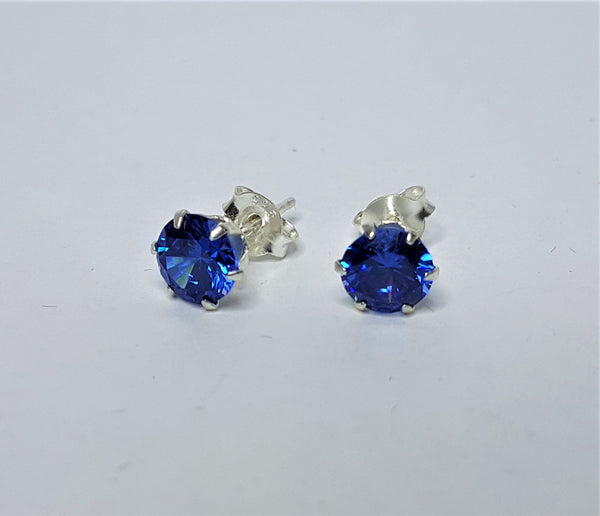 Sapphire CZ 6mm Round Sterling Silver Studs