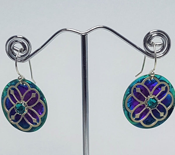 Abbey Turquoise/Purple Crystal Drop Earrings