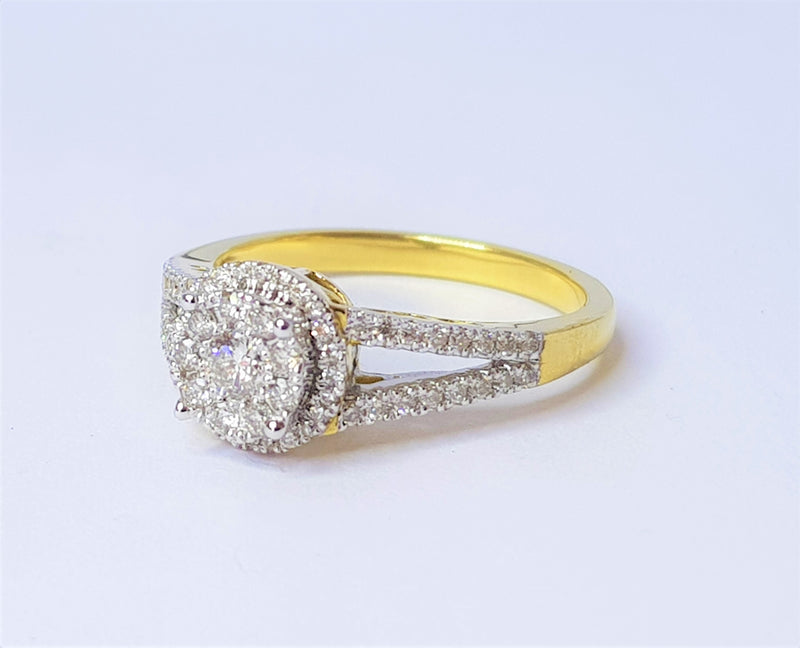 10ct Yellow and White Gold Diamond Cluster Filigree Bridge Ring