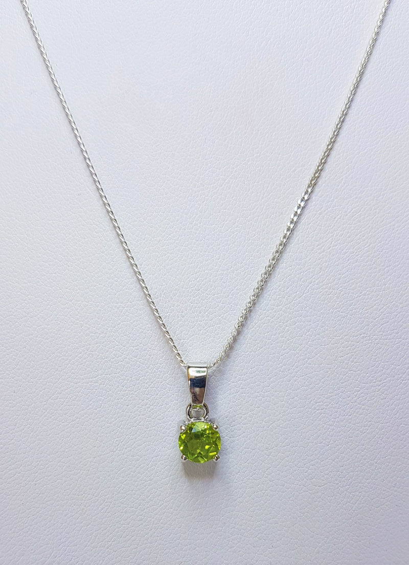 Round Peridot Claw Sterling Silver Pendant