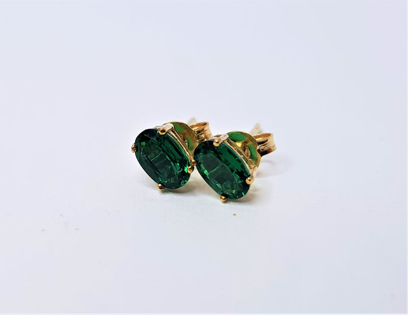 9ct Yellow Gold Oval Cr Emerald Studs