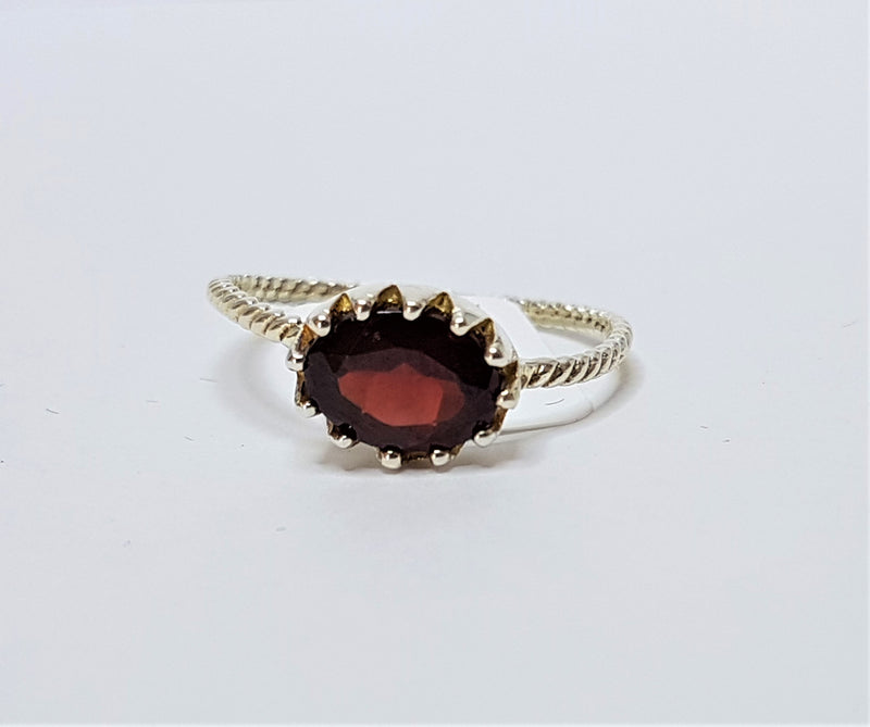 Garnet Oval Twist Band Sterling Silver Ring