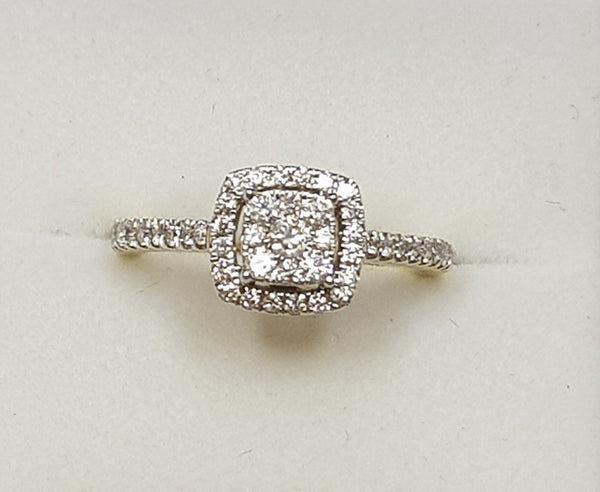 10ct YG/WG Cushion Style Cluster Halo Engagement Ring
