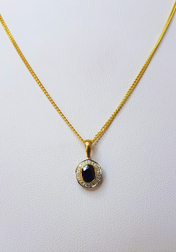 Sapphire Bezel Diamond Set 9ct Yellow Gold Pendant