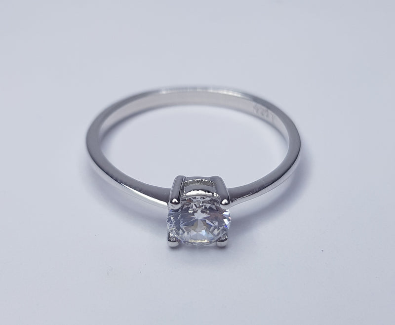 Round Solitaire CZ Sterling Silver Ring