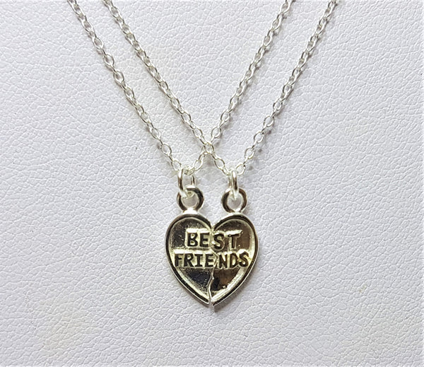 'Best Friend' Split Sterling Silver Pendants