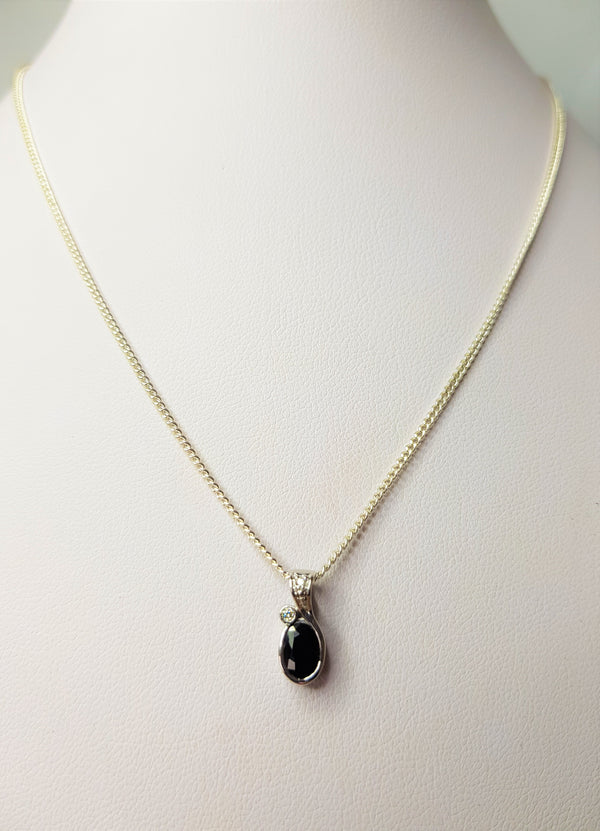 9ct White Gold Oval Sapphire and Bead Set Diamond Bail Pendant