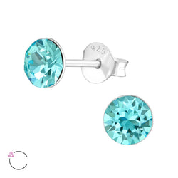Light Turquoise Crystal Claw Set Sterling Silver Studs