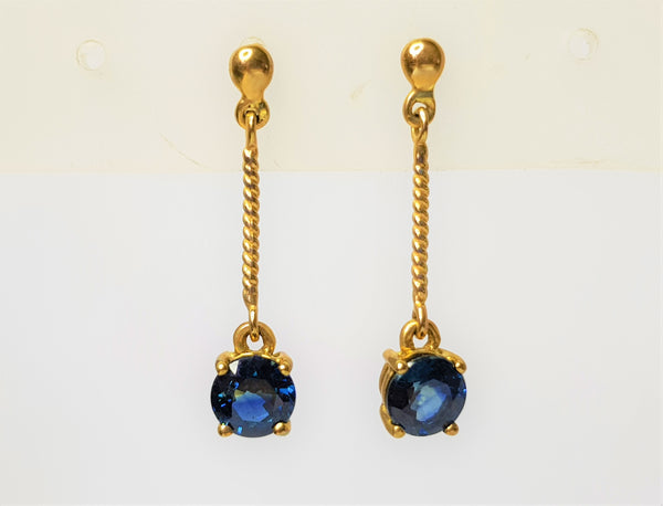 9ct Yellow Gold Twist Rope Sapphire Drop Studs