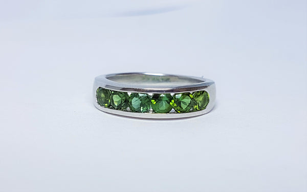 Yellow/Green Sapphire Sterling Silver Ring