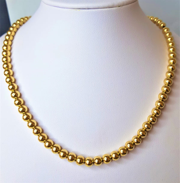 Rolled Gold 6mm Ball Necklace with Parrot Clasp