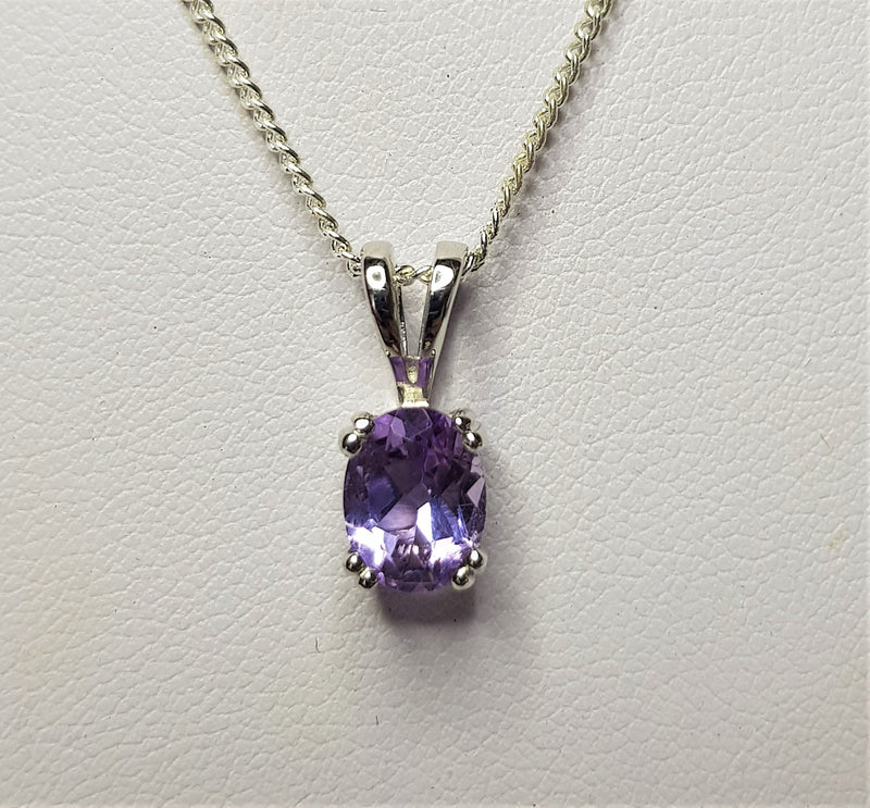 Oval Amethyst Double Claw Sterling Silver Pendant