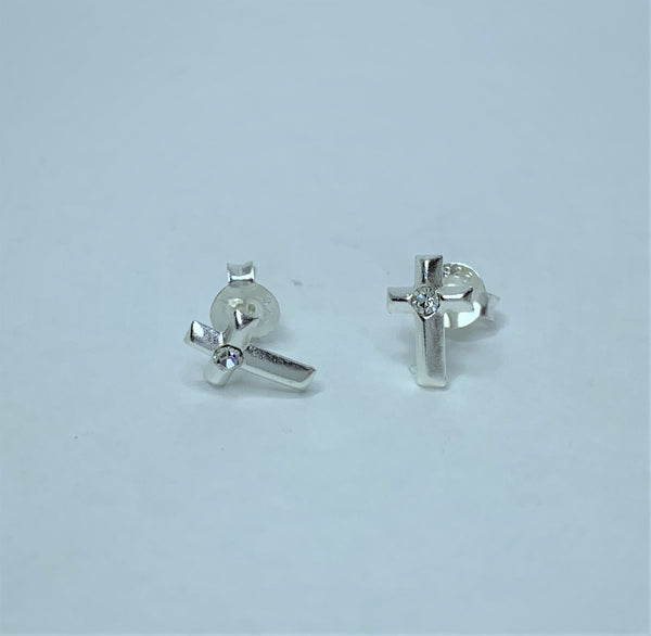Cubic Zirconia Set In Sterling Silver Cross Studs