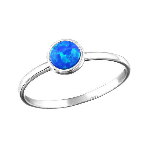 Pacific Blue Created Opal Sterling Silver Ring